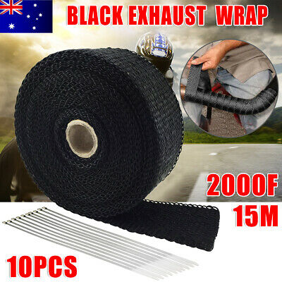 Black Exhaust Wrap Tape + 10 Ties for Car Pipe 15M*50mm Heat Resistant 2000F