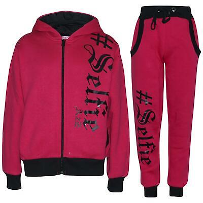 Kids Girls Boys Tracksuit Designer's #Selfie Top Bottom Jogging Suit 5-13Yr