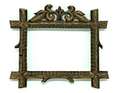AA1 * Black Forest Wood Carved Picture Frame Antique german 1900's