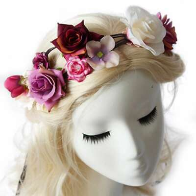Boho Handmade Flower Crown Headband Floral Hair Garland Wreath Headpiece PWHS22