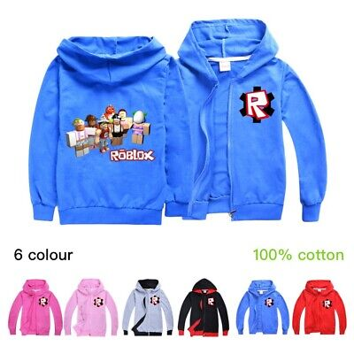 ROBLOX Kids Boys Basic Coat Jacket Cover Up Zipper Hooded Cardigans Top Age 3-10