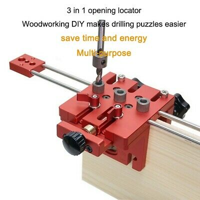 Woodworking Puncher Adjustable Drill Guides Punching Locator Dowelling Jig Kit