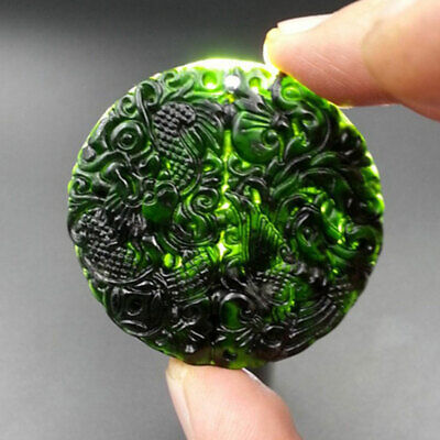 Chinese Natural Black Green Jade Carved Dragon Phoenix Pendant Collectible Gifts