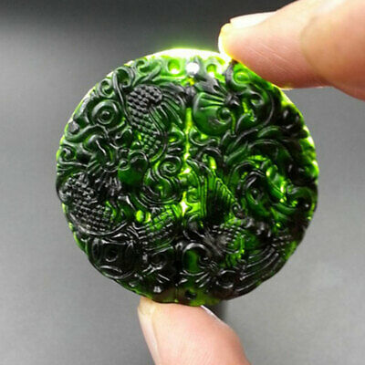 Hand-Carved Dragon Phoenix Chinese Natural Black Green Jade Pendant Lucky Amulet