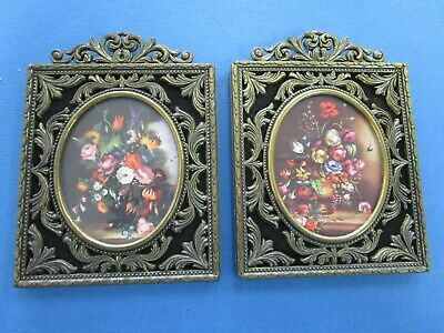 Pair Vintage Made In Italy Ornate Metal  Frame With  Oval Flowers Picture