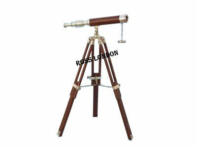 Nautical Brass Leather Telescope 14 Inch With Wooden Tripod Navigational Vintage