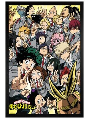 My Hero Academia Poster Black Wooden Framed School Compilation 61x91.5cm