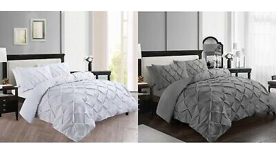 Pintuck Duvet Quilt Cover Bedding Set With Pillowcase Double King Size