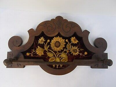 Large Victorian Walnut Wall Towel Rack With Framed Embroidery, C. 1880. - 90.