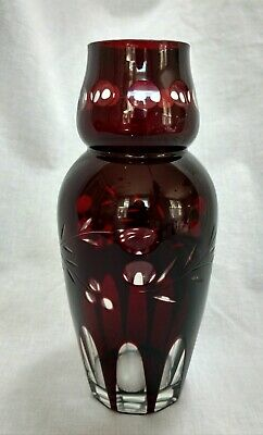 "VTG Czech Bohemian Ruby Red Cut to Clear Art Deco Glass Vase 7"" tall NICE"