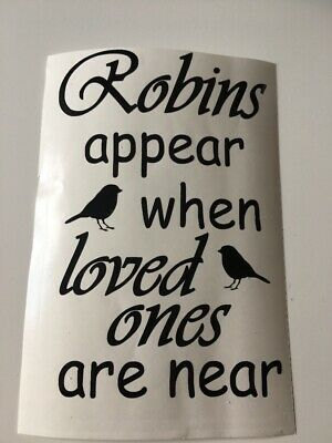 Robins Appear When Loved Ones Are Near Wine Bottle Vinyl Decal Christmas Gift