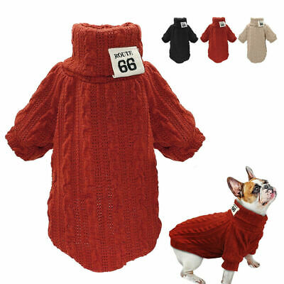 Dog Knitted Sweater Chihuahua Clothes Winter Knitwear Puppy Pet Jumper Black Red