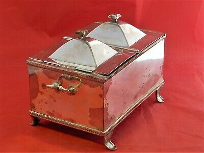 19th. CENTURY SILVER PLATED TEA CADDY.DOUBLE COMPARTMENT. GEORGIAN STYLE.