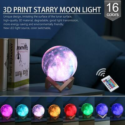 3D Printing Moon Lamp Moonlight USB LED Night Lunar Light Touch 16Color Changing
