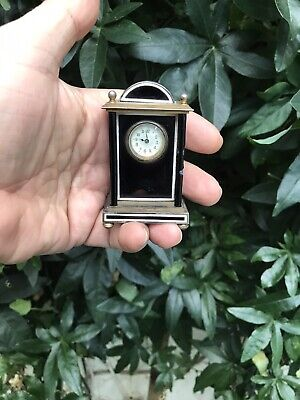 Antique French Black Enamel Solid Silver 935  Miniature Traveling Mantle Clock
