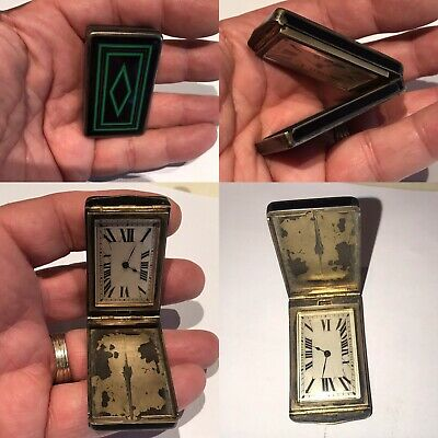 Antique French Green & Black Enamel Solid Silver Traveling Clock Box Case