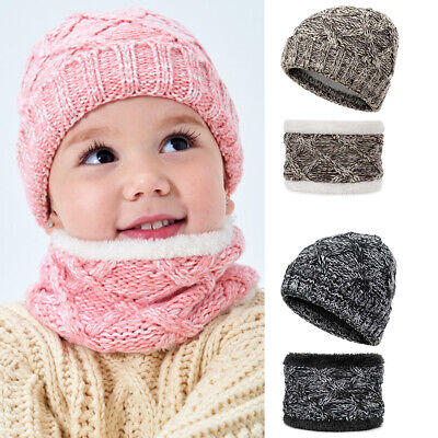 Boys Girl Kid Winter Hat and Scarf Set Warm Knit Fleeced Beanie Cap Circle Scarf