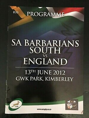70435 - South Africa BARBARIANS v England 2012 Rugby Programme 13/06 13th June