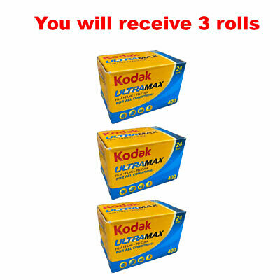 3 Rolls Kodak UltraMax 400 35mm Film GC24 135-24 Exp GOLD Color Print Expired