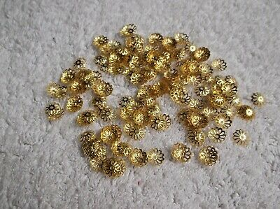 100 LARGE Gold Tone BEAD CAPS Covers 10mm With 1mm Hole