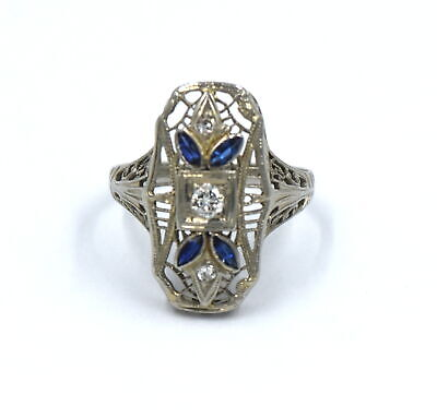 Antique Art Deco Diamond Sapphire Ring Filigree 18K White Gold Size 5.75