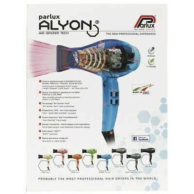 Parlux Alyon Black Air Ionizer Tech Hair Dryer SALON - Barber - MADE IN ITALY
