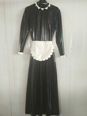 Latex Dress 100% Rubber Black and White Long Skirt  Maid  Uniform Suit S-XXL