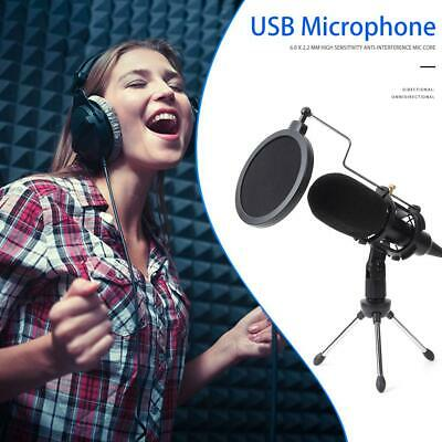 USB PC Microphone Wired Condenser Microphone Studio Recording Mic w/Stand Clip