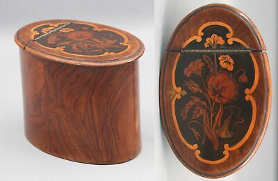 Antique English 19thC Mahogany Oval Tea Caddy Box, Marquetry Inlay