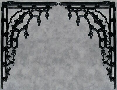 2 ARCHITECTURAL GOTHIC RENAISSANCE Cast Iron SHELF WALL CORNER BRACKETS Black