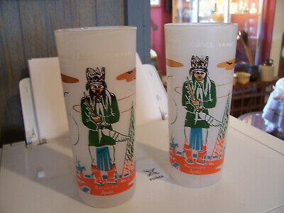 2--Knox Oil 1950s Oklahoma Indians Frosted Tea Tumblers Geronimo Apache x2