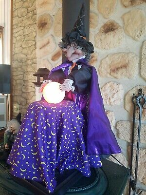 Gemmy LARGE FORTUNE TELLER WITCH Animated TALKS LAUGHS Electric CRYSTAL BALL