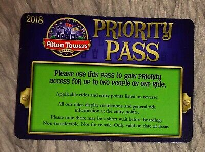 ALTON TOWERS FAST TRACK PASSES X4 EACH PASS ADMITS 2 PEOPLE ON THE RIDE 1.2metre