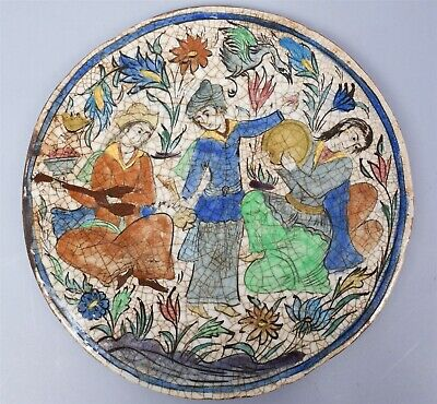 Very Good Antique circa 1900 Middle Eastern Large Round Ceramic Tile w Musicians