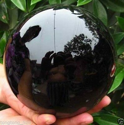 80MM+stand Natural Black Obsidian Sphere Large Crystal Ball Healing Stone-
