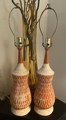 Pair Mid Century Danish Modern Teak and Ceramic Pottery Table Lamp