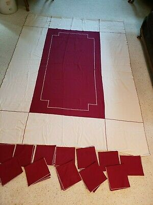 """Vintage 94"""" x 69"""" maroon and ivory linen tablecloth with 12 napkins"""