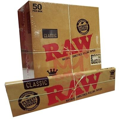 Raw Classic King Size Slim 50 Packs/32 Per Pack)Box Rolling Papers