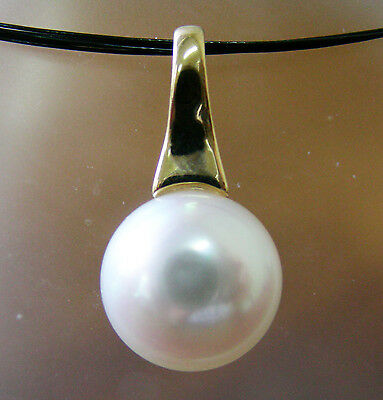 15.4mm WHITE SOUTH SEA PEARL 100% UNTREATED+18ct SOLID YG PENDANT+CERT AVAILABLE