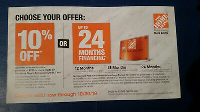 Home Depot 10% off coupon valid thru 10/30/19 Online or in store No Reserve 0.01