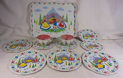 Vintage Dutch Boy and Girl Tin Litho Children's Dish Set Tray Plates cup saucers
