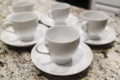 5 Mikasa Classic Flair White Teacups And Saucers (Will Separate)