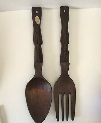Vintage Retro Carved Wooden Fork & Spoon Timber 52cmcm Tiki Bar Wall Hanging