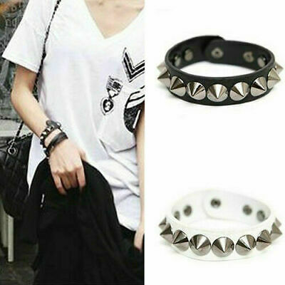 Cool Leather Spike Stud Bracelet Wristband Rivet Punk Goth Emo Rock Cuff Bangle