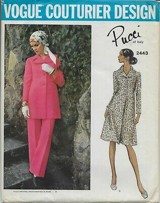 V2443 VTG Sewing Pattern VOGUE COUTURIER Design Emilio Pucci Coat Dress Pants