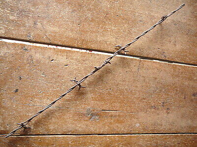 ALLENS 4-PT  BARB on 1 of 2 FLAT LINES - FACTORY SPLICE- ANTIQUE BARBED WIRE