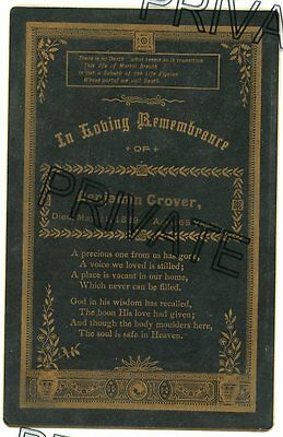 Cabinet Card - GROVER Family - Memorial / Remembrance Card - D) 1889 - 65 yrs