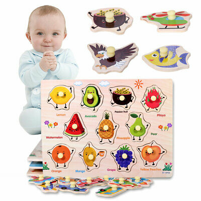 Wooden Animal Letter Puzzle Jigsaw Early Learning Children Kids Educational Toy