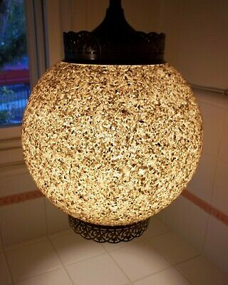 Mid Century Orb Fiberglass Globe Swag Lamp Covered w MOP Shell Chips & Glitter
