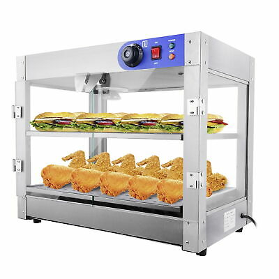 """2 Tier Food Warmer Stainless Steel Buffet Pizza Display Cabinet Case 24x19x15"""""""